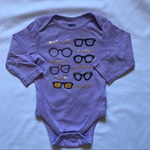 Lilac long sleeve onesie for baby girl